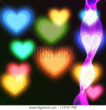 Blurry bright background with coloured hearts