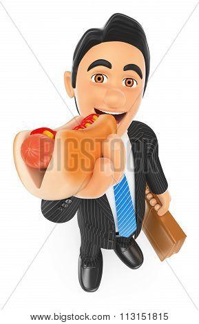 3D Businessman Eating A Hot Dog