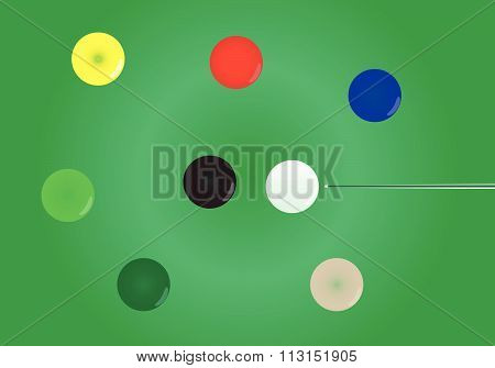 Snooker Ball On Snooker Table Vector