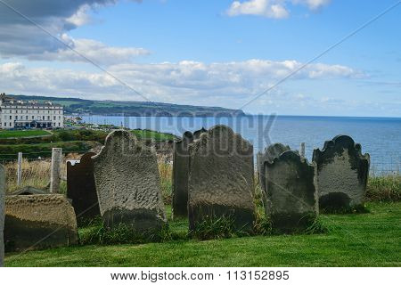 Monastery Cemetery In Whitby, North Yorkshire, Uk