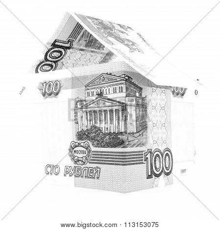 Russian Money Ruble Design, Rouble Banknote Rent Isolated, White Background