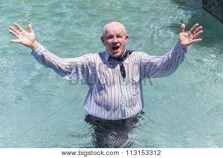 Businessman Pool Holiday