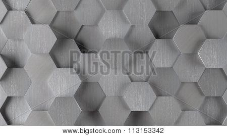 Silver Hexagonal Tile Background (Lights On)