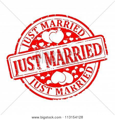 Damaged Round Seal With The Inscription - Just Married - Illustration