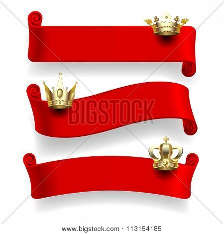Set of red ribbons with gold crowns isolated on white background. Vector illustration