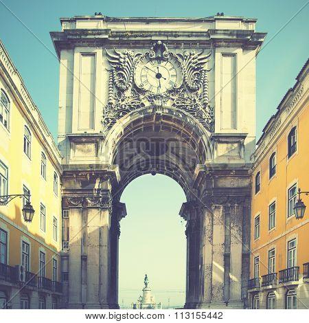 Arch (Rua Augusta) in Lisbon, Portugal. Retro style filtred image