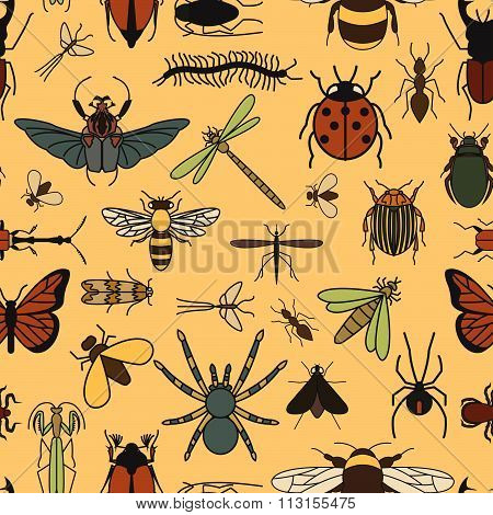 Insects seamless pattern.