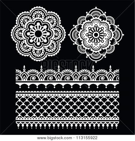 Mehndi, Indian Henna tattoo white seamless pattern on black