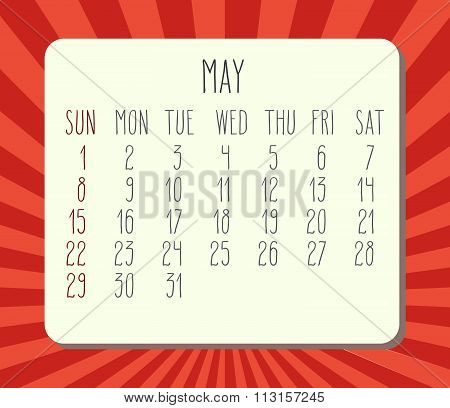May 2016 Monthly Calendar