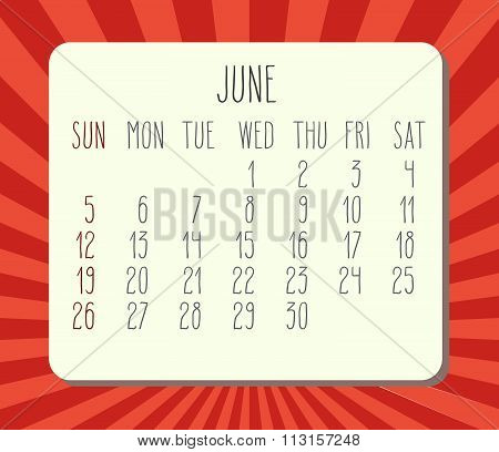 June 2016 Monthly Calendar