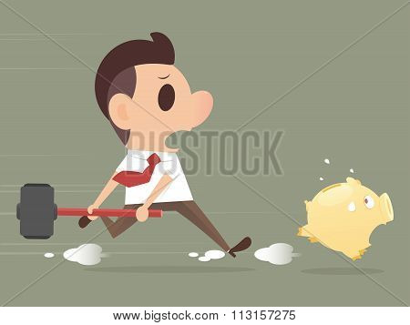 Businessman Trying To Break A Piggy Bank With A Hammer
