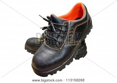 Black steel toe safety boots.