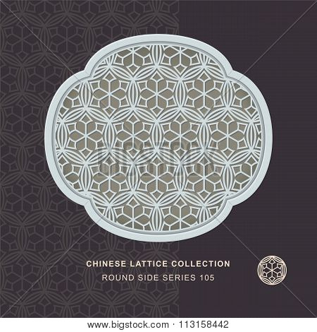 Chinese window tracery round side frame 105 round cross flower