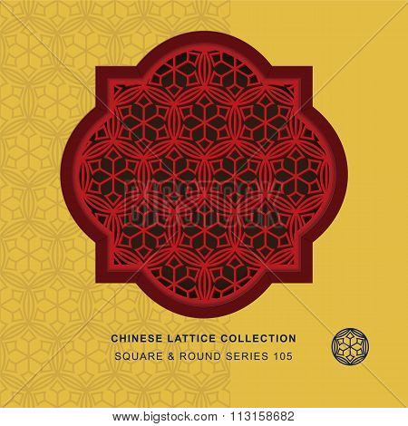 Chinese window tracery square round frame 105 round cross flower