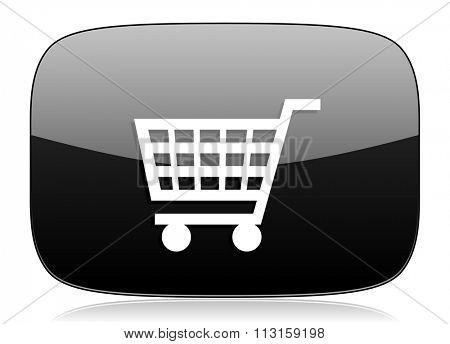 cart black glossy web modern icon