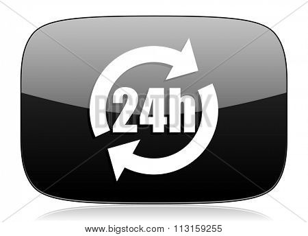 24h black glossy web modern icon
