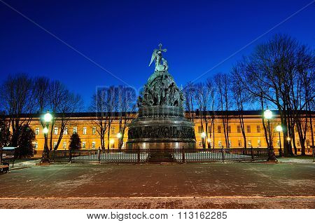 The Monument Millennium Of Russia In Veliky Novgorod, Russia, By Night
