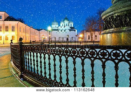 Winter City Night View - St.sophia Cathedral And The Monument Millennium Of Russia In Veliky Novgoro