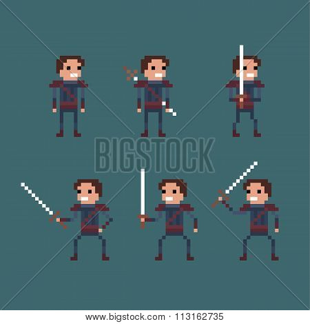 Vector pixel art fantasy kingdom swordsman warrior sprite
