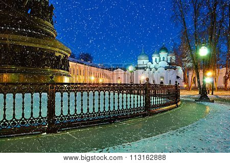 Saint Sophia Cathedral And The Monument Millennium Of Russia In Veliky Novgorod, Russia - Winter Cit