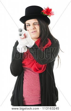 A pretty teen girl with sparkly red hearts taking aim with a double barrel white rifle.  She wears a black top hat and sweater, red scarf and and formal white gloves.  On a white background.