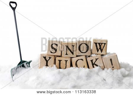 Large, rustic alphabet blocks in snow arranged to spell out