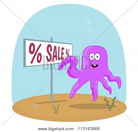 Sea Octopus standing in ocean and showing on sign with sale text vector background