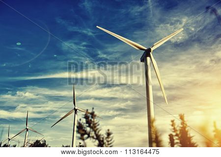 Renewable energy sources windmills outside the city