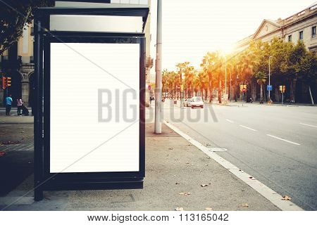 Advertising mock up empty banner in urban areas on a bus stop,clear poster outdoors