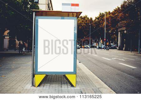 Public information Lightbox board in urban setting, advertising mock up