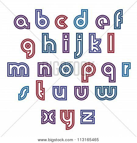 Regular Stylish Contrast Font With Double Lines. Distinct Colorful Lower Case Letters Set. Vector