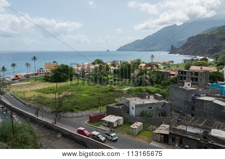 View over small town at coastline of cape verde island
