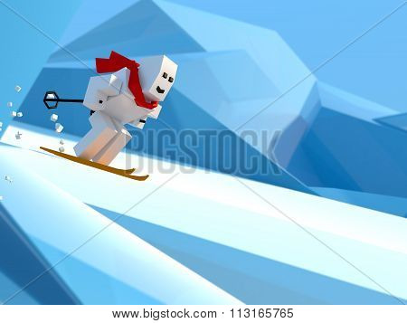 man skiing down a slope