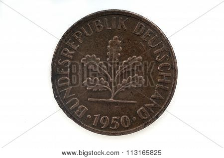 Old Coin Dated 1950, One Pfennig, German Coin