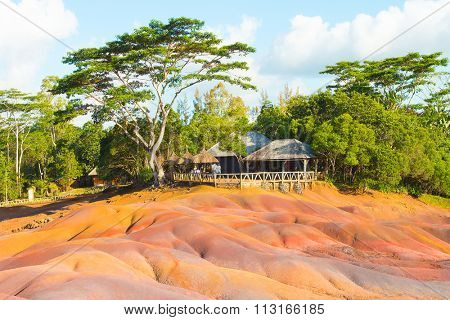 Main sight of Mauritius, Chamarell, seven color lands. Natural parks off Mauritius Island.
