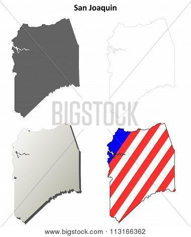 San Joaquin County, California outline map set