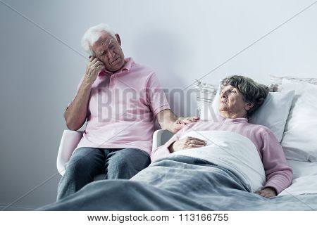 Husband Supporting Mortally Ill Wife