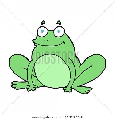 freehand drawn cartoon happy frog