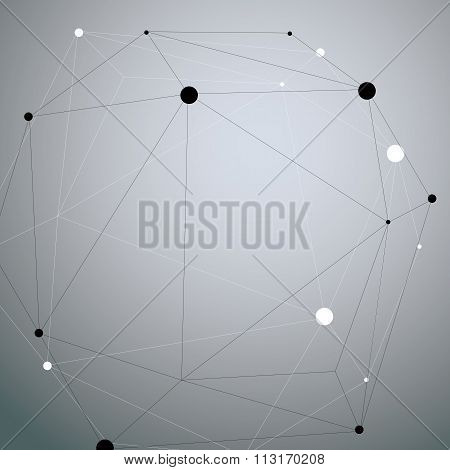 3D Vector Abstract Design Object, Polygonal Complicated Figure With Lines Mesh.