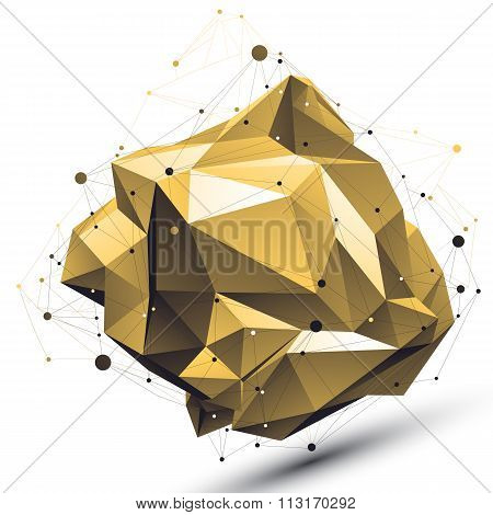 Spatial Technological Deformed Shape With Wire Mesh, Polygonal Gold Cybernetic Wireframe Object.