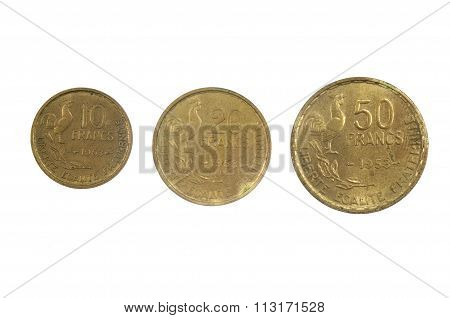 French Currency Of The Twentieth Century 10, 30 And 50 Franc's, 1953