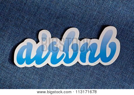 Airbnb Hospitality Service Logo On Blue Background