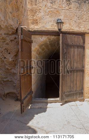 Door To The Basement Of Ayia Napa Monastery, Cyprus.