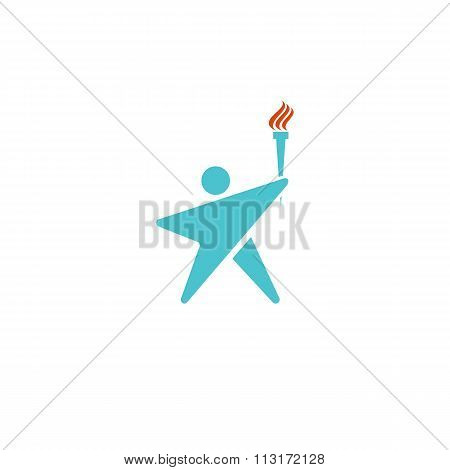 Leader Human Logo Torch Fire, Man Silhouette Shaped Star Mockup Logotype, Sport Champion Icon