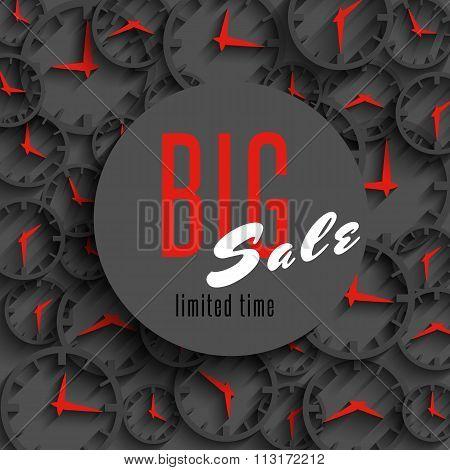 Big Sale Time Poster Mockup, Clock Hands, Shop Advertising Banner, Special Discount Advantage Busine