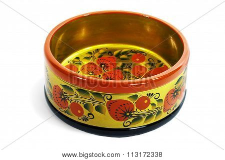 Wooden not deep bowl, painted in the style of Khokhloma
