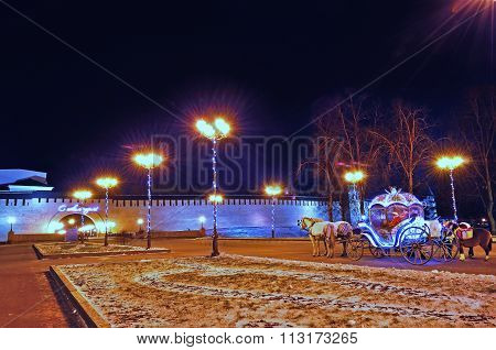 Kremlin Park In Veliky Novgorod, Russia - Night Beautiful Festive Landscape