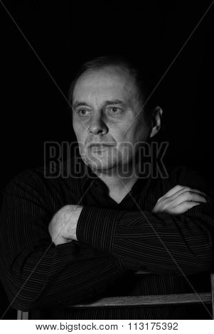 Black and white portrait of mature caucasian man