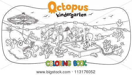 Octopus kindergarten coloring book