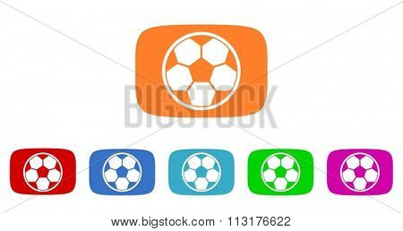 soccer flat design modern vector circle icons colorful set for web and mobile app isolated on white background
